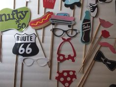 SOCK HOP nifty fifty photo booth props by flutterbugfrenzy on Etsy