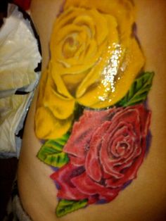 Yellow Red Rose Tattoo Iwate Kokyo