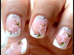 Gray Nail Concept Also Water Decals French Manicure Easy Nail Art Designs French Pedicure Designs, Manicure Nail Designs, Flower Nail Designs, Pink Nail Designs, Simple Nail Art Designs, Flower Nail Art, Easy Nail Art, Toe Nail Art, French Nails