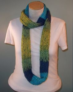 Bright and Sunny Infinity Scarf  Deep Blue/Green by JandSKnitts, $22.00  #etsy #knitting #infinityscarf #winter #accessory #winteraccessories #jandsknitts