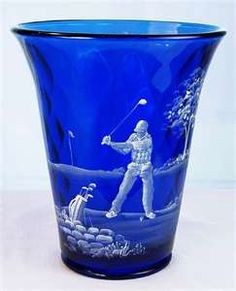 Fenton Mary Gregory Vase in Cobalt Blue Glass | eBay....for all you golfers.