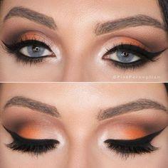 Lashes + Drama Liner + Beige Inner V + Orange Outer V + Brown Crease