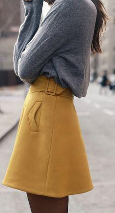 Mustard Fashion Trend: Danielle Bernstein is wearing a mustard skirt from Carven