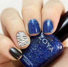 Zoya blue with zebra black and white polish  #nails #mani #nailart - bellashoot.com