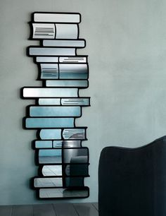 Stack of books mirror. Love this. Sending it to my aunt who does stained glass. Fab idea!