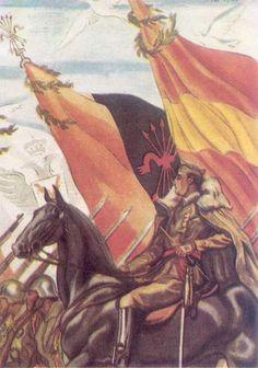 Spain - 1936-39. - GC - poster - Propaganda alegórica del General Franco victorioso