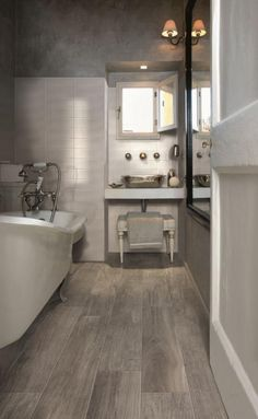 "Wood Look Ceramic Tile Bathroom . Wood Look Ceramic Tile Bathroom . 15 Bathrooms that Have Been Transformed with ""wood"" Tile Wood Look Tile Bathroom, Best Bathroom Flooring, Diy Flooring, Modern Bathroom, Small Bathroom, Flooring Ideas, Bathroom Ideas, Bathroom Grey, Bathroom Designs"