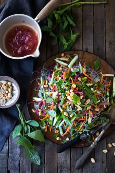 An incredible recipe for Vietnamese Vermicelli Noodle Salad w/ Sweet Chili Vinaigrette & Roasted peanuts. Bursting with great flavor --healthy and light!