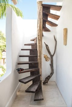A boho-chic Airbnb on Mexico's charming Holbox Island, Casa Impala mixes splendid rustic aesthetics with a sense of comfort. Outside Stairs, Outdoor Stairs, Deck Stairs, Roof Deck, Stair Railing, Spiral Staircase Kits, Staircase Design, Stair Design, Staircase Ideas