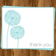 Dandelion Thank You Cards Modern Floral Set by TheInviteLadyShop, $8.00