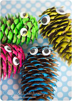 colorful pine cone monsters!