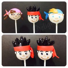 Jake the Neverland Pirates Cake Pops by Themed Parties, Party Themes, Birthday Parties, Party Ideas, Pirate Cake Pops, Fairytale Party, Cake Pops How To Make, Marshmallow Pops, Pirate Theme