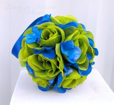 Hey, I found this really awesome Etsy listing at https://www.etsy.com/listing/151809376/wedding-flower-balls-green-royal-blue
