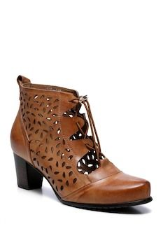 Vicenzo Leather Shae Perforated Flat Wooden Heel Ankle Leather Boots