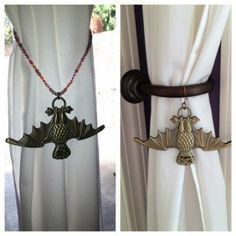 """10. Bat Stanchion Curtain Tie Backs- I wanted a clever way to be able to tie back the curtains in this room, so I bought a few Haunted Mansion Bat Stanchion pin lanyard medallions and converted them into just what I was looking for! I bought them a while back, so I'm not sure if they are still sold in the parks, but at one time these """"O-Pin House"""" pieces were available at all the main pin selling spots. I do know you can still find them on eBay."""