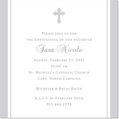 Silver Striped Cross Baptism Square Shimmer Invitations