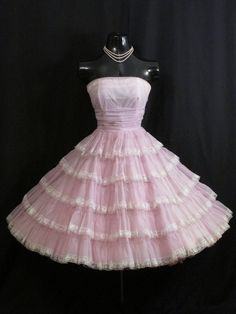 Vintage 1950s 50s Bombshell Strapless Lilac Lavender Tiered Chiffon Organza White Lace Circle Skirt Party Prom Wedding Dress Gown. $299.99, via Etsy.