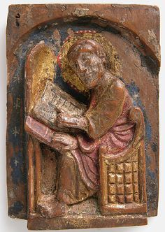 Miniature Relief of an Evangelist at His Writing Table (John, Luke, Mark), 1200–1225, German. The Metropolitan Museum of Art, New York. Bequest of George Blumenthal, 1941 (41.190.237)