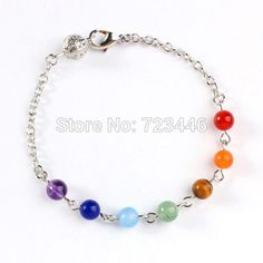 10X Charm Colorful Gem Stone Bead Bracelet Bangle Or Reiki Pendulum Chain Healing Chakra Fashion Jewelry 2014 New
