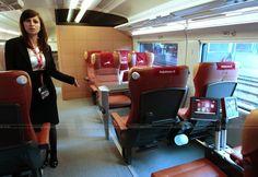 Ferrari Train Italo Interior Seats and Display Monitors