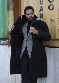 Black knit, charcoal trouser, grey check jacket Black Knit, Style Me, Personal Style, Raincoat, Trousers, Menswear, Mens Fashion, Stylish, Charcoal
