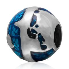 Soulbead Enamel Blue Ocean Earth Around the World Globe Charm 925 Sterling Silver Round Bead for European Snake Chain Bracelet -- Want to know more, click on the image. #Charms