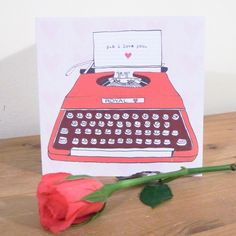 P.S I Love You Typewriter Illustrated Valentine's Card - £3.00