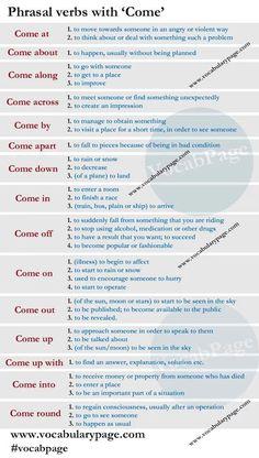 Phrasal verbs with COME #learnenglish