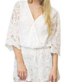 Charming White Lined Lace Cover Playsuit With High Waist - Cardibae Rompers Women, Jumpsuits For Women, Online Clothing Stores, Wholesale Clothing, Jumpsuit With Sleeves, Online Shopping For Women, Famous Women, Easy Wear, Lace Sleeves