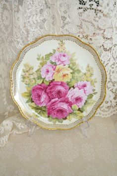 Stunning Unmarked Antique Hand Painted Decorative Plate by Jenneliserose
