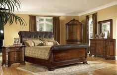 Old World Leather Sleigh Bedroom Set
