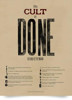 The Cult of Done Manifesto Digital/Pixel Editorial/Documentary