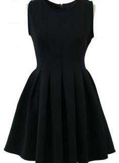 LBD Sleeveless Skater Dress #pleated #partydress #cocktaildress #ustrendy