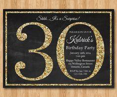 30th birthday invitation. Gold Glitter Birthday Party invite. Adult Surprise Birthday. Elegant. Printable digital DIY. on Etsy, $10.00