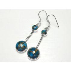Sterling Silver Blue Copper Turquoise Earrings