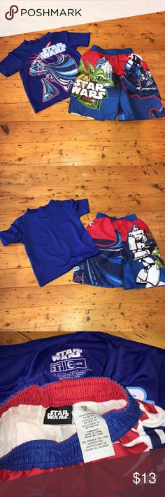 NWOT Star Wars Swim Trunks and Rashguard Set ✔️NWOT Star Wars Swim Trunks and Rashguard Set ✔️This adorable set is new - my son ripped the price tags off, but it doesn't fit him. Star Wars Swim Swim Trunks