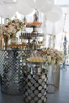 Shining food displays from our Romantic Metallics table at Unveiled Los Angeles www.24carrots.com