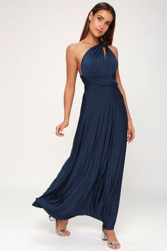 164a09528a8a Any which way you wrap it, the Lulus Always Stunning Convertible Navy Blue  Maxi Dress