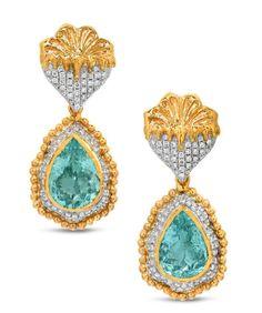 Paraiba tourmaline earrings by Victor Veylan #VictorVeylan #ClippedOnIssuu from JEWELLERY HISTORIAN, #23