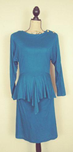 Vintage 80's Jody of California Turquoise Blue Stretch Peplum Dress sz 9/10 #JodyofCalifornia #Peplum #ClubwearFestiveCareer