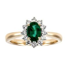 This 18kt yellow and white gold ring, from the Birks Collection, features 1 oval cut emerald with a carat weight of .65 and 12 round cut diamonds with a total carat weight of .37, colour grade GH and clarity SI1.