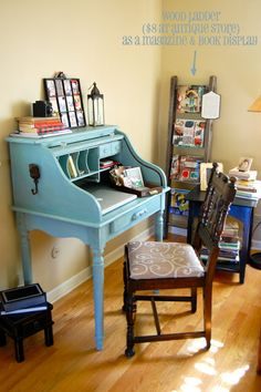 Looking to do something with my roll top. roll top desk chair makeover, antique ladder as magazine holder Desk Chair Makeover, Desk Redo, Furniture Makeover, Upcycled Furniture, Furniture Projects, Small Roll Top Desk, Secretary Desks, Console, Chalk Paint Furniture