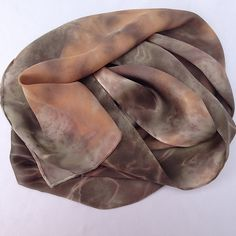 Silk Satin Scarf Hand dyed with Plants, Flowers & Spices, Poinsetta and Alstroemeria, No chemical dyes or mordants