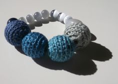 HAND CROCHETED BEADS, 100% COTTON WITH SEMI PRECIOUS STONES AND GLASS BEADS, one of a kind