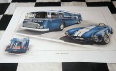 FORD SHELBY AC COBRA 289 AMERICAN INC TRANSPORTER 1964 NEW PAINTING PRINT ART A+