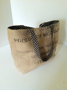 """Coffee Bag Burlap Tote (Large) """"Product of Nicaragua Certified Fair Trade"""" with Black/Brown Polka Dots and Green Polka Dots. $58.00, via Etsy."""