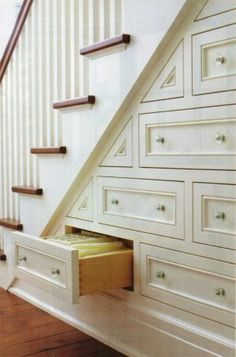 furniture : Minimalist White Under Stair Storage Drawers and Shelf Ideas - furniture: Creative And Space Saving Under Stairs Storage Shelf And Drawer Ideas, astounding Wooden Drawers Under Stairs Finished in White Color medium version