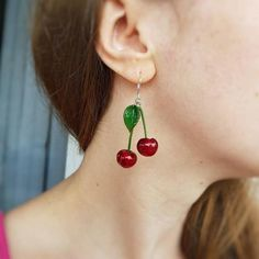 Beautiful Earrings, Beautiful Necklaces, Cherry Earrings, How To Make Clay, Original Gifts, Gifts For Your Mom, Handmade Jewelry, Unique Jewelry, Handmade Polymer Clay