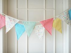Baby Bunting, Fabric Banners, Pennants, Garlands, Alphabet, Coral, Yellow and Blue Shade - 3 yards (3rd version)