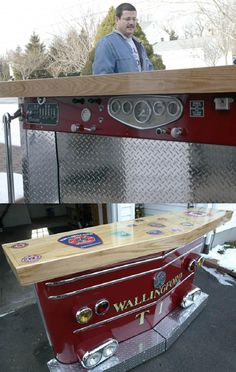 DIY: Firefighter converts a decommissioned fire truck into bar for man cave